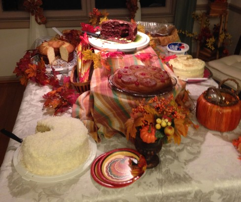 Last year's dessert table after people had taken hold. Missing are the pies.